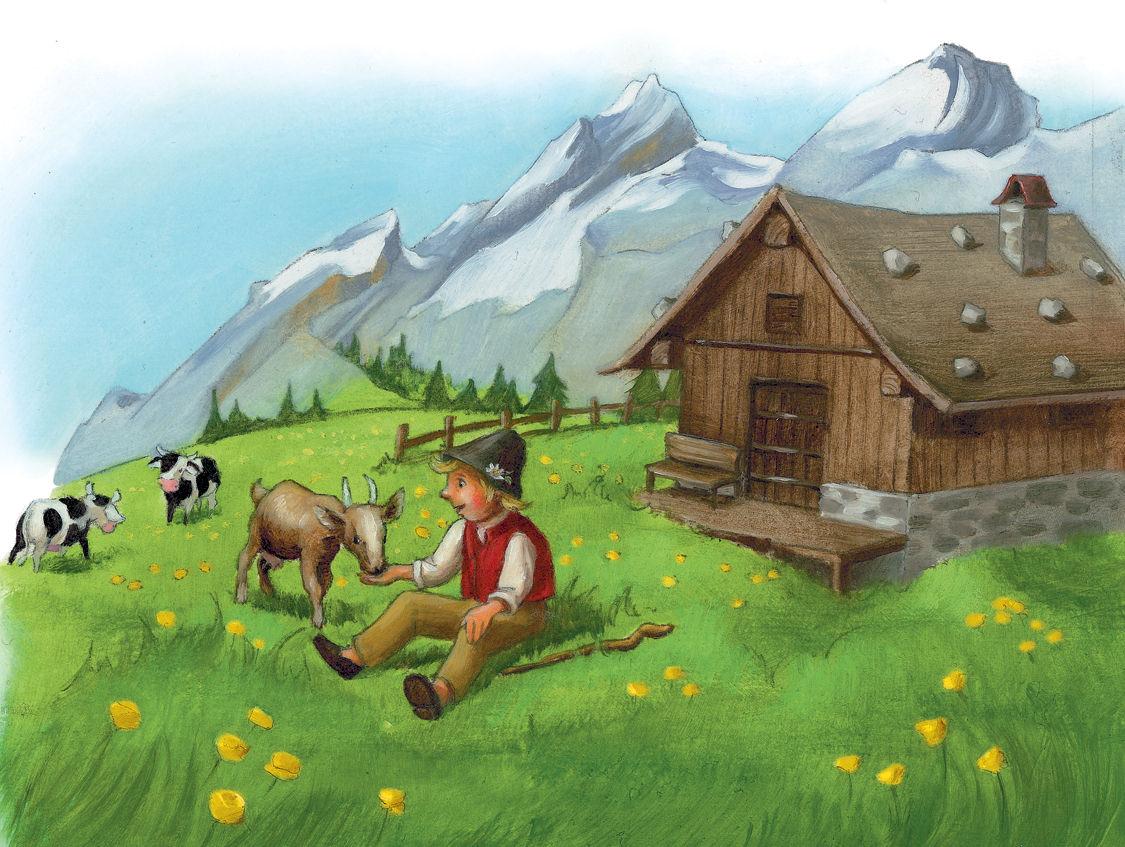 Junge füttern eine Ziege vor einer Almhütte, Bergpanorama