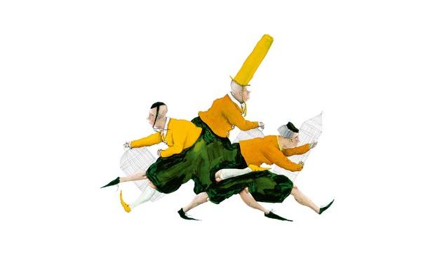 Drei Männer rennen hecktisch mit Vogelkäfigen in den Händen