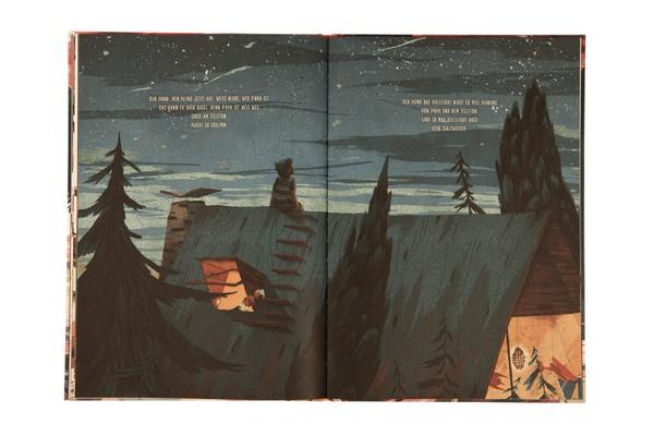 Nino sitzt im Dunkeln auf dem Dach und sieht sich den Sternenhimmel an
