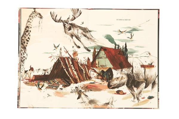 Hunde, fliegendes Rentier, Giraffe, Nashorn, Vögel tümmeln sich vor dem Haus