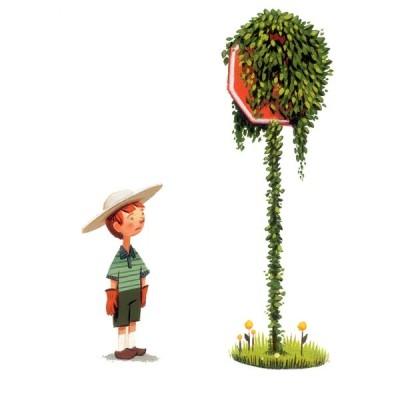 Junge mit Hut und Handschuhen steht vor, von Blättern verdecktem, Stoppschild