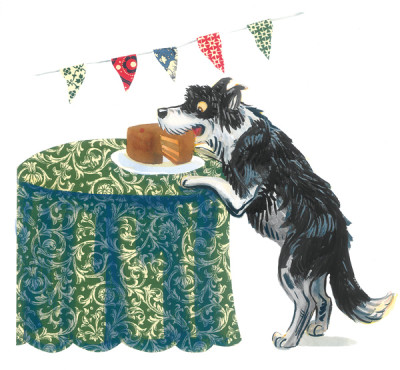 Hund stiehlt Torte vom Tisch
