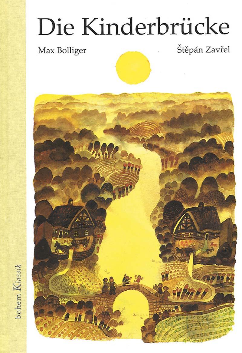 Ein Fluß trennt zwei Häuser, auf der verbindenden Brücke spielen zwei fröhliche Kinder
