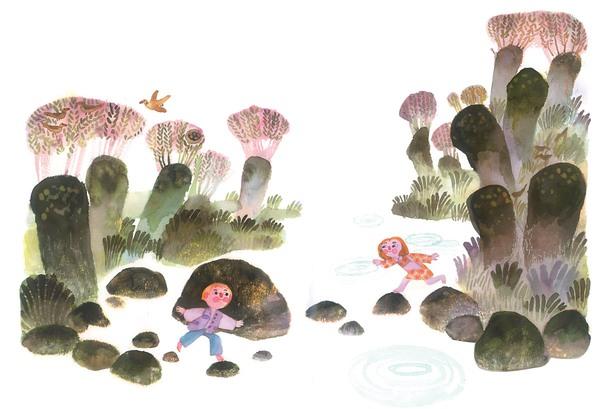Zwei Kinder überqueren entgegengesetzt, mit Hilfe von Steinen, einen Fluß