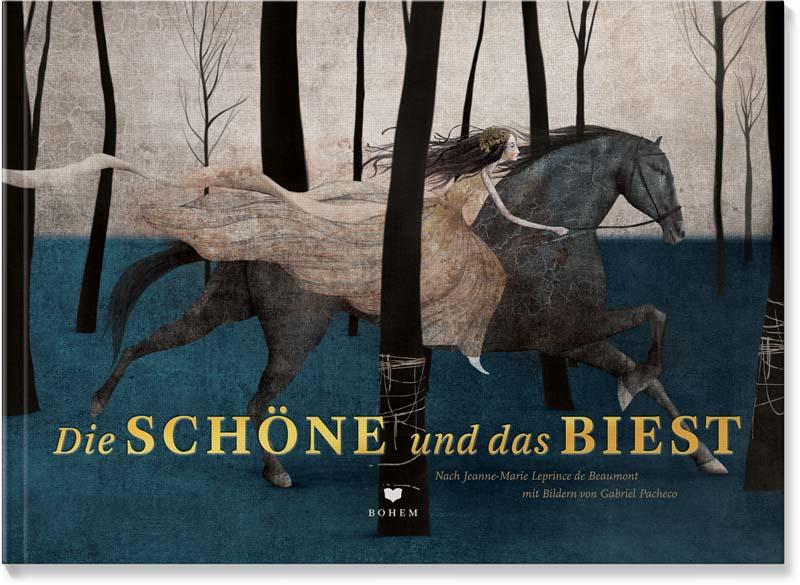 Die SCHÖNE reitet auf dem Pferd durch die Wälder