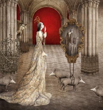 Die edle Tochter im Schloss sieht erschreckendes Bild im Spiegel