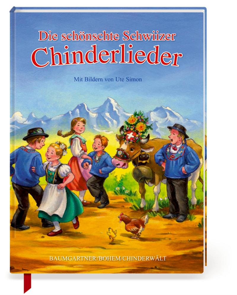 Fröhlich singende und tanzende Kinder vor den Bergen, daneben eine prächtig geschmückte Kuh mit singendem Mann