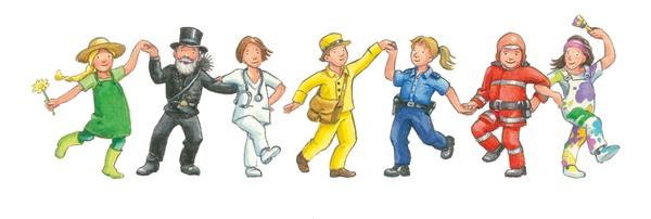 Fröhliche Menschen unterschiedlicher Berufsgruppen halten sich an den Händen und tanzen