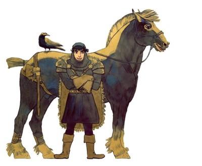 Ritter Donnerschlag steht mit verschränkten Armen vor seinem Pferd