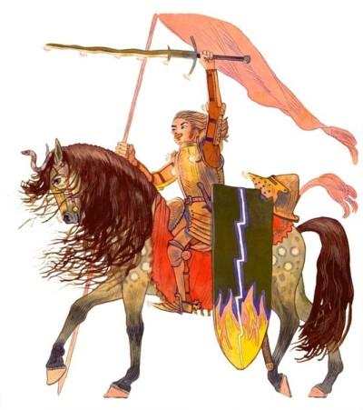 Ritter Feuerblitz auf seinem Pferd hält Schwert und Flagge in die Höhe