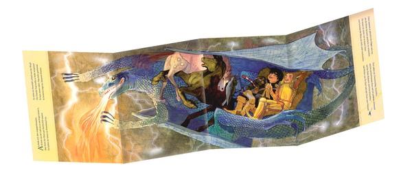 Panoramaseite zeigt lachende Ritter auf fliegendem, feuerspuckendem Drachen