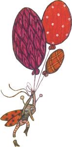 Käfer fliegt an Luftballons