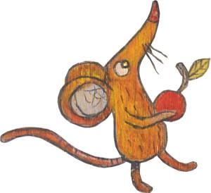 Maus mit Apfel in der Hand