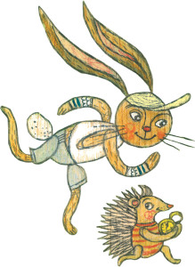 Igel und Hase laufen um die Wette