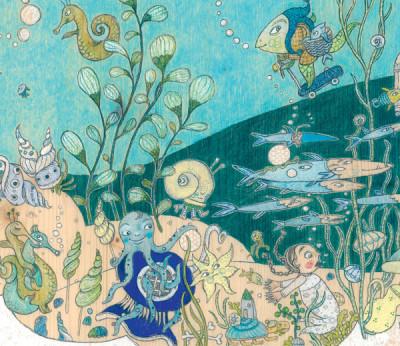 Mädchen inmitten der kunterbunten Unterwasserwelt