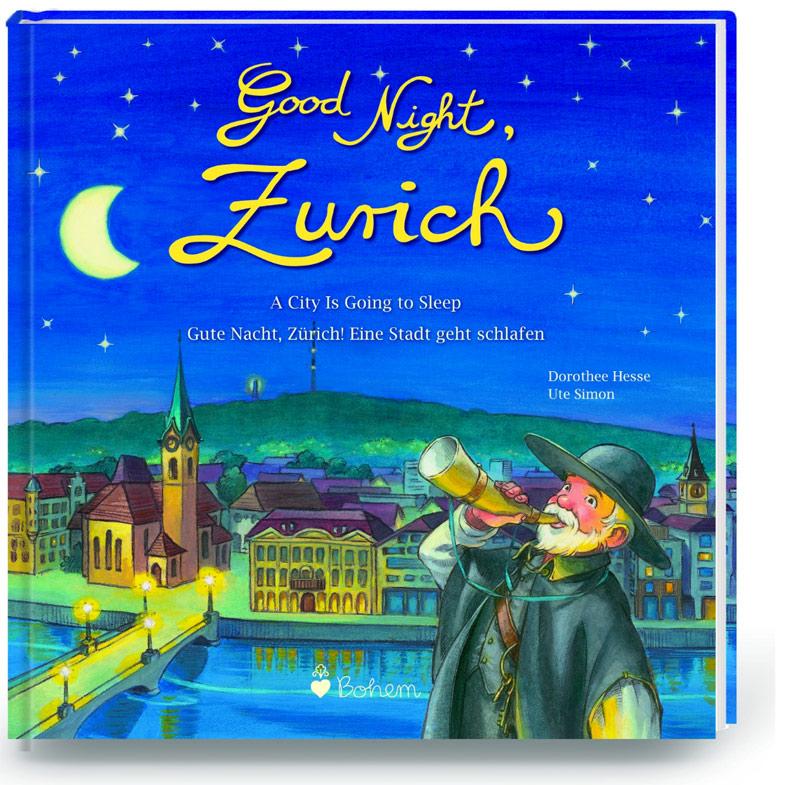 Nachtwächter bläst das Horn vor dem abendlichen Zürich