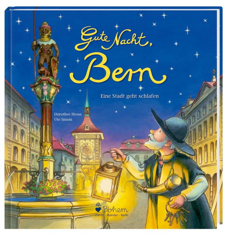Nachtwächter mit Laterne und Schlüsselbund in den Händen im abendlichen Bern