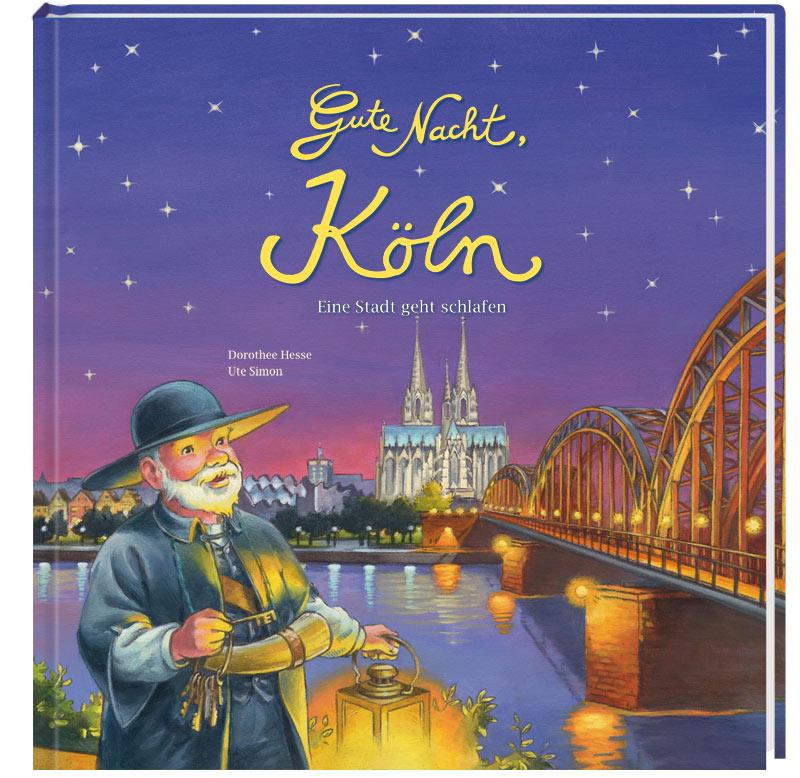 Nachtwächter mit Laterne, Schlüsselbund und Horn vor dem abendlichen Köln