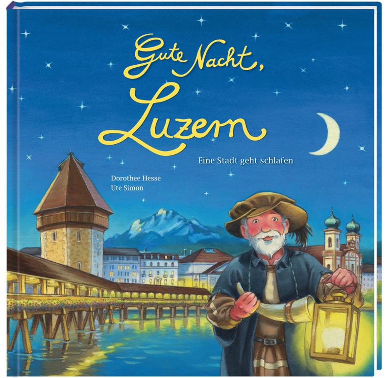 Nachtwächter mit Laterne und Horn in den Händen vor dem abendlichen Luzern