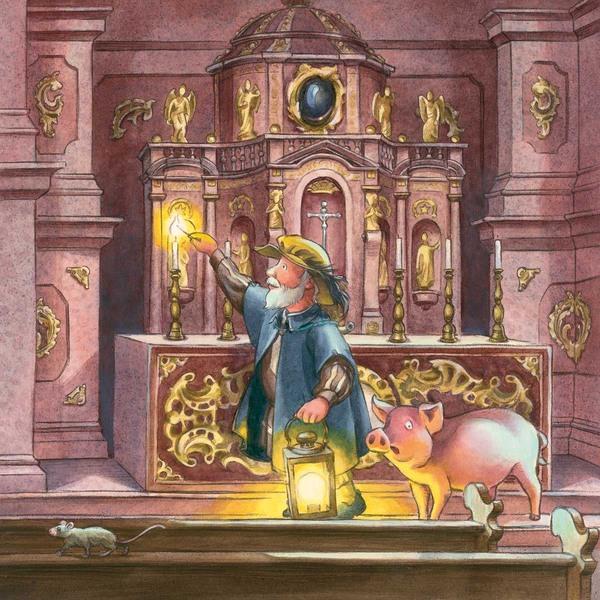 Nachtwächter mit Laterne in der Hand, zündet in der Kirche die Kerzen an, daneben ein Schwein und eine Maus