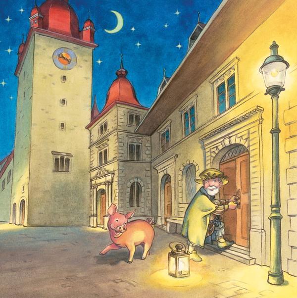 Nachtwächter mit seiner Laterne an einer Haustür, daneben ein vergnügtes Schwein