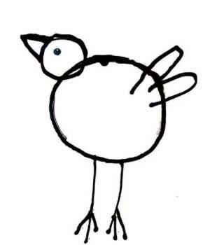 Ganz einfache Darstellung eines Vogels die zum Nachmalen animiert
