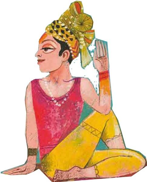 Orientalische Frau mit Turban, sitzend mit verschränkten Beinen und erhobener Hand, schaut nach hinten