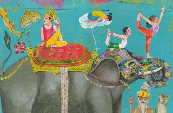 Orientalische Frau mit Turban sitzt mit verschränkten Beinen und erhobener Hand auf einem geschmückten Elefanten und schaut nach hinten, vor sich mehrere Personen die Yogaübungen auf dem Elefantenkopf durchführen