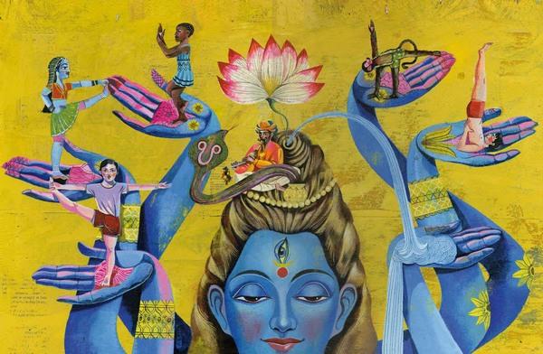 Große, blaue, dreiäugige Frauenerscheinung trägt auf ihren sechs Händen jeweils eine Yoga-praktizierende Person; auf ihrem Kopf sitzt Schlangenbeschwörer mit Schlange