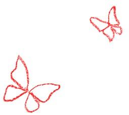 Zwei gezeichnete, rote Schmetterlinge