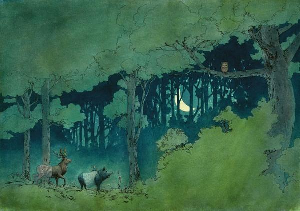 Waldtiere schauen bei Nacht zur Eule hinauf, die auf einem Ast sitzt