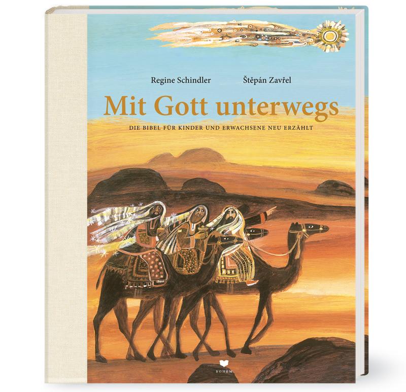 Drei Männer auf ihren Kamelen in der Wüste folgen einem, über ihnen fliegenden, Stern
