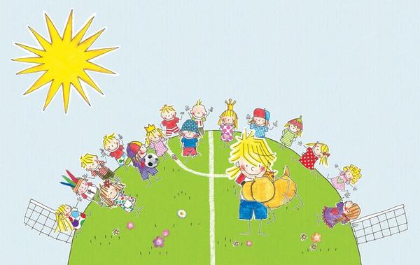Ein Fußballfeld in Form einer Weltkugel, darauf Kinder, die von einem Tor zum anderen eine lange Reihe bilden, Junge mit Hund steht fröhlich davor