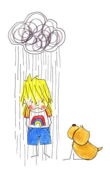 Junge steht bedröppelt unter einer Regenwolke und wird nass, sein Hund sitzt daneben und schaut zu
