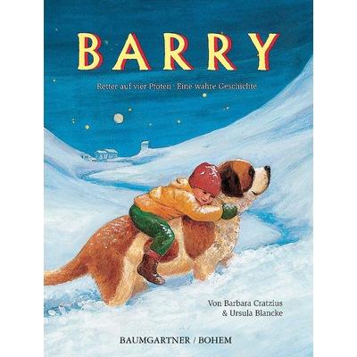 Rettungshund Barry im Einsatz, er trägt kleinen Jungen durch den Schnee