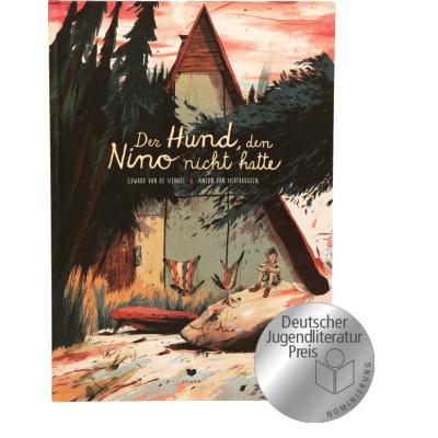 Buchcover zeigt Nino, sitzend auf großem Stein mit Fantasiehund