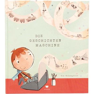 Junge sitzt an einer Maschine und heraus kommen die unterschiedlichsten Geschichten als Bilddarstellung
