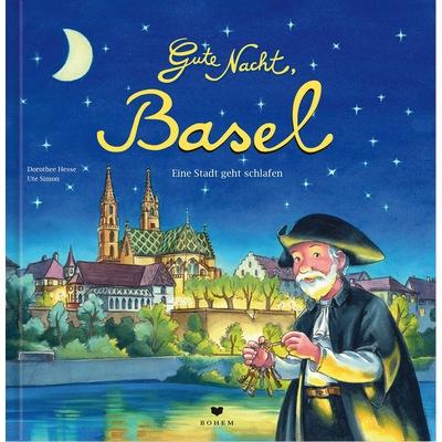 Nachtwächter mit Schlüsselbund in den Händen vor dem abendlichen Basel