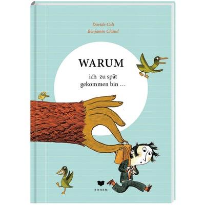 Junge mit Schulranzen wird von riesigem braunen Arm gepackt und in die Luft gehoben, verängstigte Enten fliegen davon