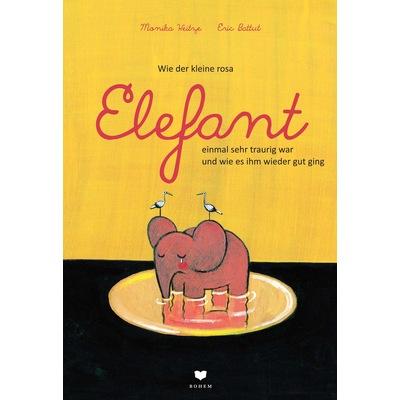 Ein traurig aussehender rosa Elefant steht in einer Pfütze und weint, auf seinen Ohren sitzt jeweils ein Storch