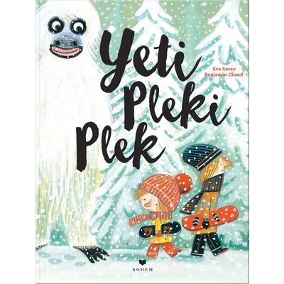Buchcover zeigt Yeti und zwei Kinder mit Snowboard unterm Arm im Schnee