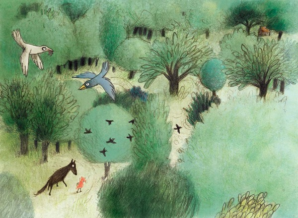 Rotkäppchen unterhält sich mit Wolf im Wald