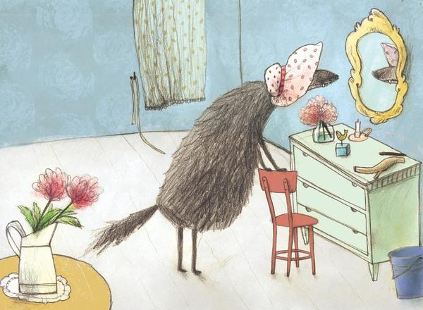Der als Oma verkleidete Wolf bewundert seine Verkleidungskünste im Spiegel