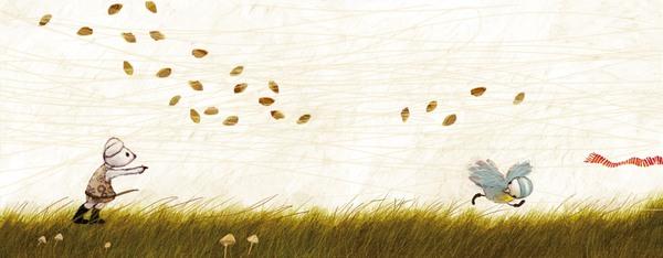 Schnip rennt um zu fliegen, Maus weist ihm den Weg