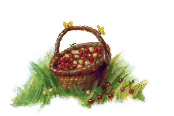 Ein brauner Korb auf einer Wiese, gefüllt mit Kirschen