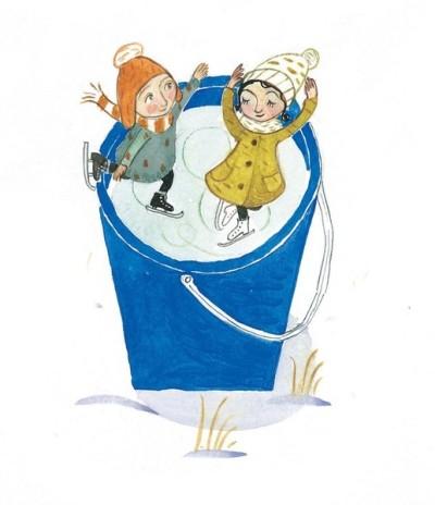 Zwei Kinder fahren Schlitzschuh im riesigen, eisgefüllten Eimer