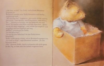 Teddybär in weißem T-Shirt sitzt in einem braunen Karton