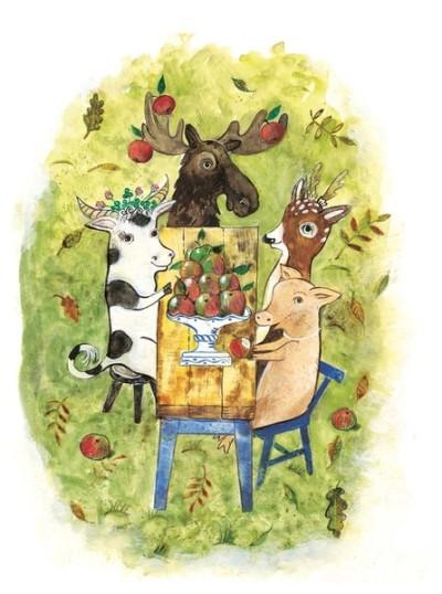Elch, Kuh, Reh und Schwein sitzen in gemütlicher Runde am Tisch und verspeisen Äpfel