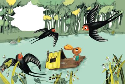 Hase auf Floß schaut zu Vögel hinauf