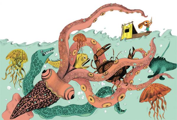 Hase auf Floß mit Schwert kämpf gegen Seeungeheuer